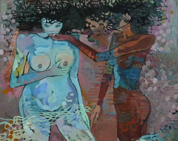 """HOLD MY HAND 52x61"""" oil on canvas, nude art, wall decor, original painting by Nguyen Ly Phuong Ngoc"""
