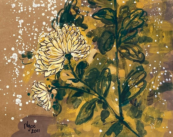 """YELLOW DAISIES 3, 16x20"""" gouache on paper, flowers, floral wall decor, original painting by Nguyen Ly Phuong Ngoc"""
