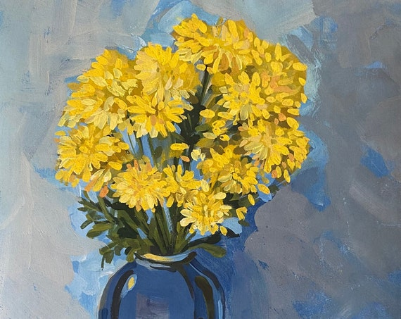 """YELLOW DAISIES 2, 16x20"""" gouache on paper, flowers, floral wall decor, original painting by Nguyen Ly Phuong Ngoc"""