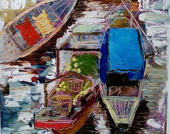 """FLOATING MARKET 12x19"""" textured oil on canvas, live painting, Mekong Delta (Cần Thơ Province), original by Nguyen Ly Phuong Ngoc"""