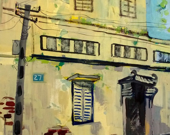 "YELLOW HOUSE 16X20"" gouache on paper, live painting, Vietnam village scene (Cự Đà), original by Nguyen Ly Phuong Ngoc"