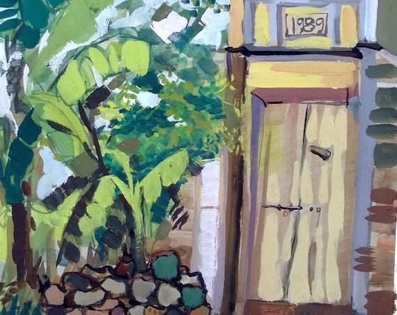 "YELLOW GATE 16x20"" gouache on paper, live painting, Vietnam village scene (Đường Lâm), original by Nguyen Ly Phuong Ngoc"