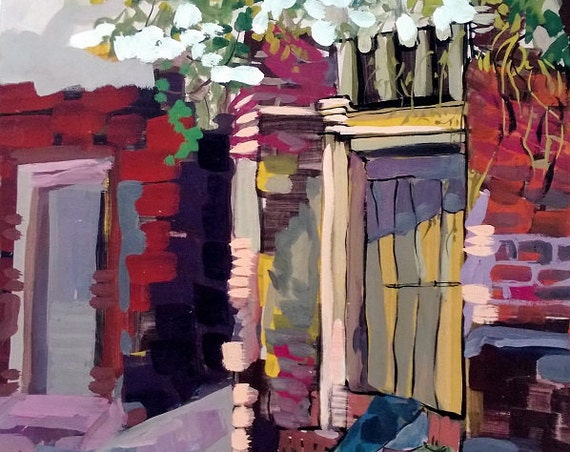 """DUONG LAM HOUSE 16x20"""" gouache on paper, live painting, Vietnam village scene, original by Nguyen Ly Phuong Ngoc"""