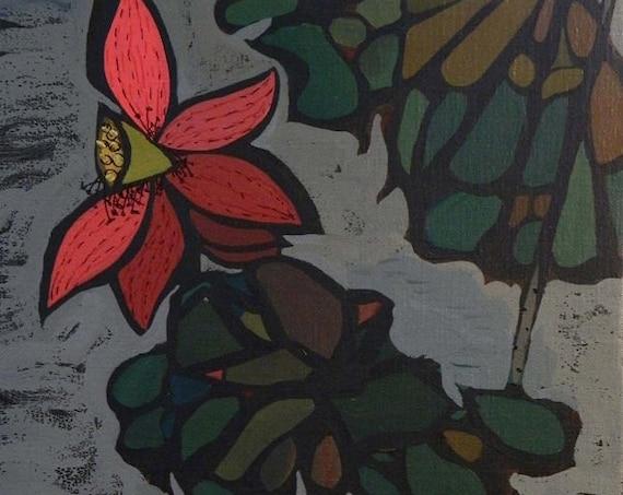 "Autumn Crimson 12x16"" acrylic on canvas, four seasons, floral wall decor, original painting by Nguyen Ly Phuong Ngoc"