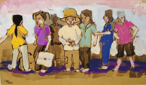 "CAN THO STREETS 14.5x8"" gouache on paper, live painting, Cần Thơ Province, original by Nguyen Ly Phuong Ngoc"