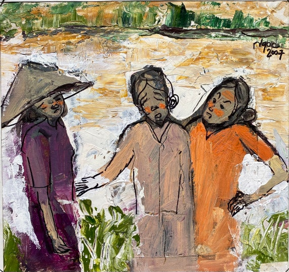 """ARGUMENT 10x11"""" textured oil on canvas, live painting, Mekong Delta (Cần Thơ Province), original by Nguyen Ly Phuong Ngoc"""