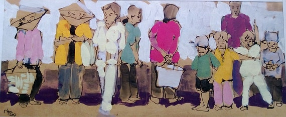 "CAN THO STREETS 18x7.5"" gouache on paper, live painting, Cần Thơ Province, original by Nguyen Ly Phuong Ngoc"