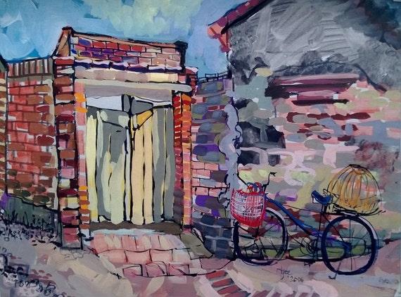 "OFF WORK 20x16"" gouache on paper, live painting, Vietnam village scene (Đường Lâm), original by Nguyen Ly Phuong Ngoc"
