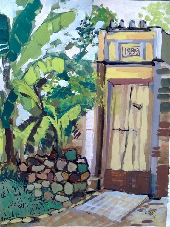 "YELLOW GATE 16x20"" gouache on paper, live painting, Vietnam village scene (Đường Lâm), original by Nguyen Ly Phuong Ngoc"