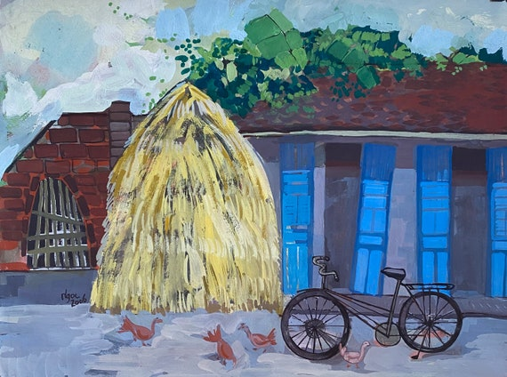"""In the courtyard-16x20"""" gouache on paper, live painting, Vietnam village scene (Đường Lâm), original by Nguyen Ly Phuong Ngoc"""