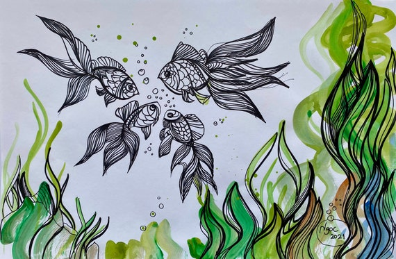 """Talking fish 12x18"""" Water Color and Ink on Paper, collaborative art, Original by Nguyen Ly Phuong Ngoc"""