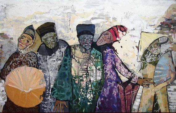 "VILLAGE GOSSIP 67x43"" Large Oil on Canvas, Textured Layers, Vietnam Village Scene, Art Nouveau, Original Painting by Nguyen Ly Phuong Ngoc"
