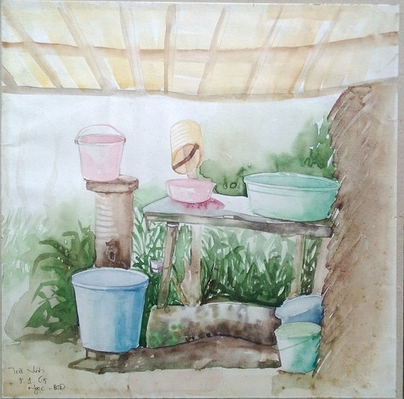"WASH UP 11x11"" watercolor on paper, live painting, Mekong Delta (Trà Vinh), original by Nguyen Ly Phuong Ngoc"