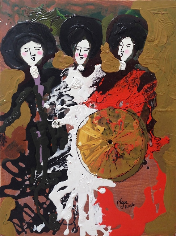 "HEY SISTERS! (Vietnamese Chèo Opera) 12x16"" Oil on Canvas, Original Painting by Nguyen Ly Phuong Ngoc"