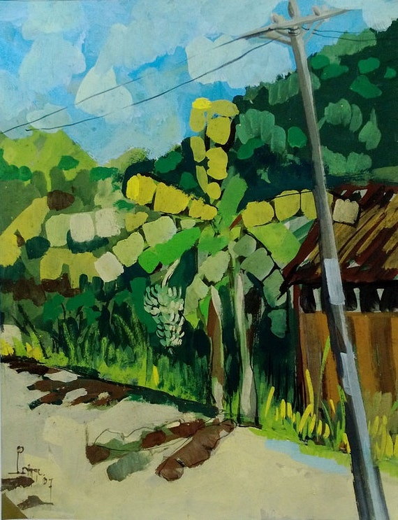 "BANANA TREE 16X20"" gouache on paper, live painting, Mekong Delta (Cần Thơ Province), original by Nguyen Ly Phuong Ngoc"