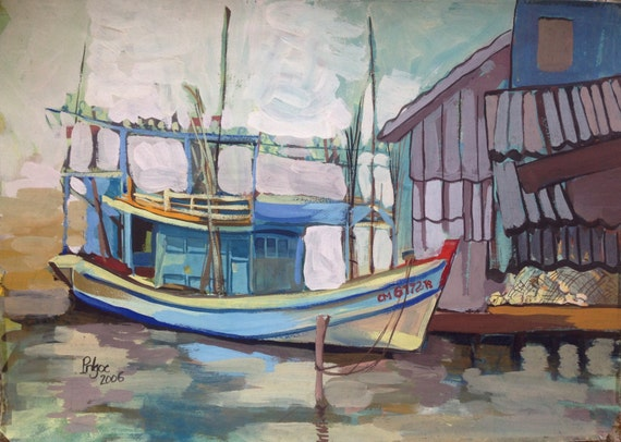 "FISHING BOAT 20x16"" Gouache on Paper, Live Painting, Mekong Delta (Sông Đốc, Cà Mau Province) Original by Nguyen Ly Phuong Ngoc"
