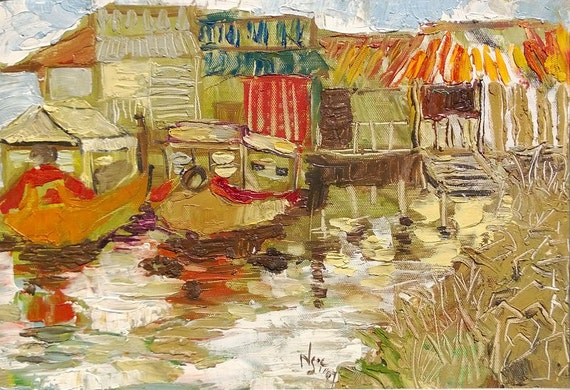 "RIVER PARKING 16x10"" textured oil on canvas, live painting, Mekong Delta (Cần Thơ Province), original by Nguyen Ly Phuong Ngoc"