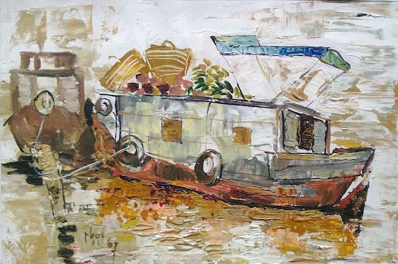 "HOUSE BOAT 16X10"" textured oil on canvas, live painting, Mekong Delta (Cần Thơ Province), original by Nguyen Ly Phuong Ngoc"