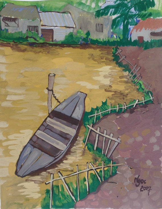 "LITTLE BOAT 16X20"" gouache on paper, live painting, Mekong Delta (Cần Thơ Province), original by Nguyen Ly Phuong Ngoc"