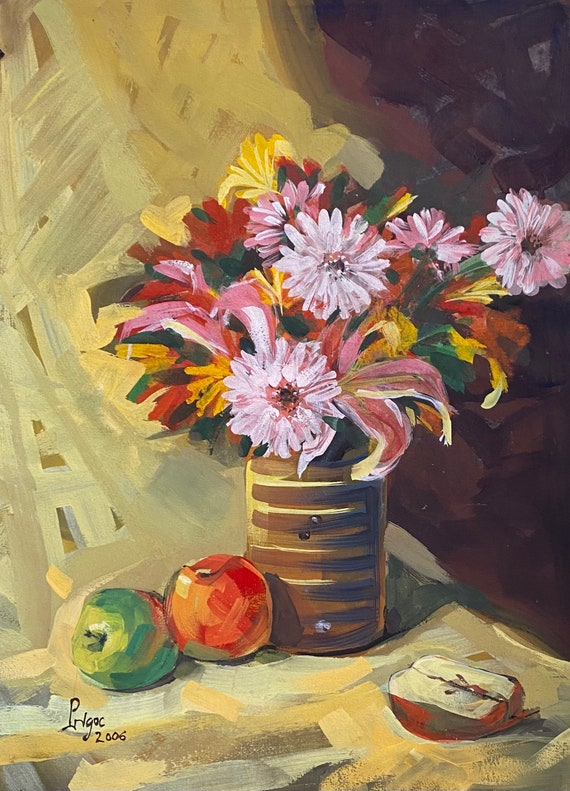 """STILL LIFE 3, 16x20"""" gouache on paper, wall decor, original painting by Nguyen Ly Phuong Ngoc"""