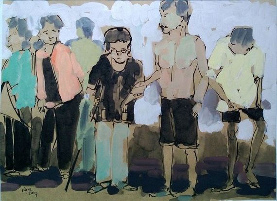 "CAN THO STREETS 15x11.5"" gouache on paper, live painting, Cần Thơ Province, original by Nguyen Ly Phuong Ngoc"