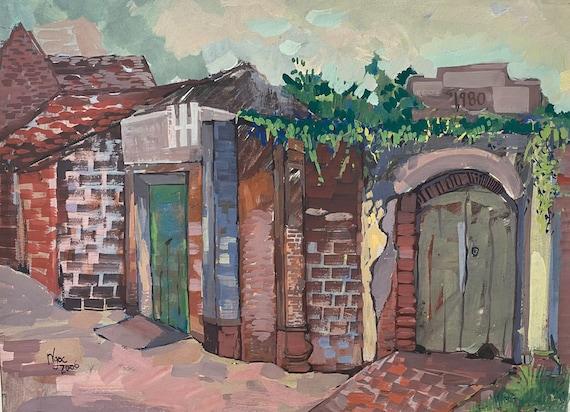 "VILLAGE ROAD 16x20"" gouache on paper, live painting, Vietnam village scene (Đường Lâm), original by Nguyen Ly Phuong Ngoc"