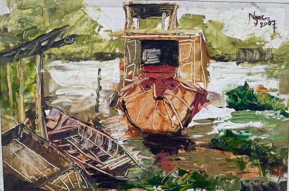 PARKING- 9.5x14''  textured oil on canvas, live painting, Mekong Delta (Cần Thơ Province), original by Nguyen Ly Phuong Ngoc