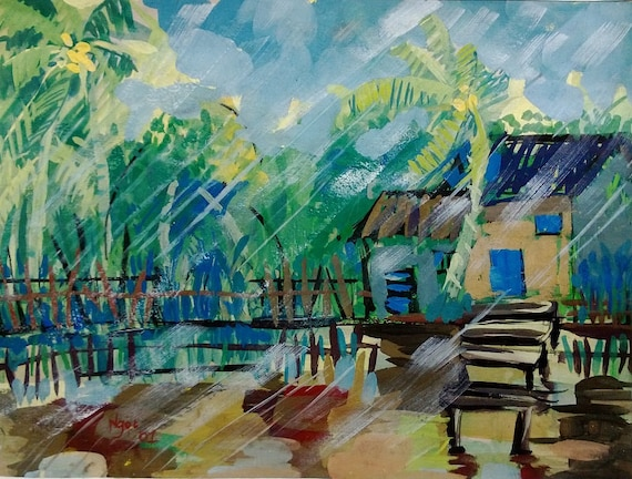 "MEKONG STORM 20x16"" gouache on paper, live painting, Mekong Delta (Cần Thơ Province), original by Nguyen Ly Phuong Ngoc"
