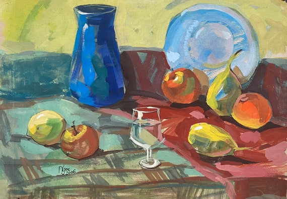 """STILL LIFE TABLE 16x20"""" gouache on paper, wall decor, original painting by Nguyen Ly Phuong Ngoc"""