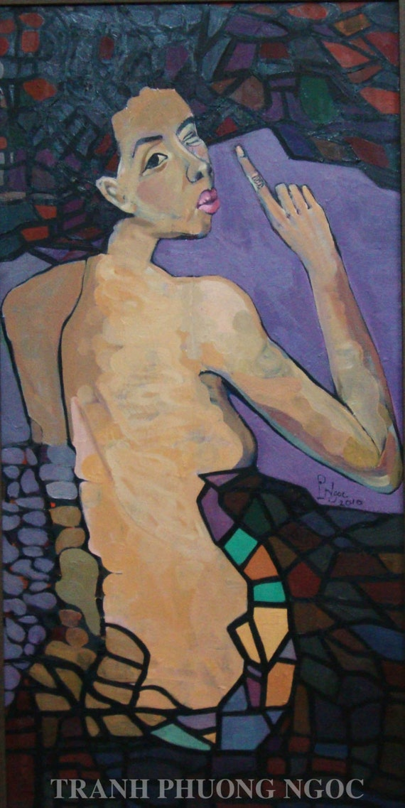 "SECRET 20x39"" oil on canvas, nude art, wall decor, original painting by Nguyen Ly Phuong Ngoc"