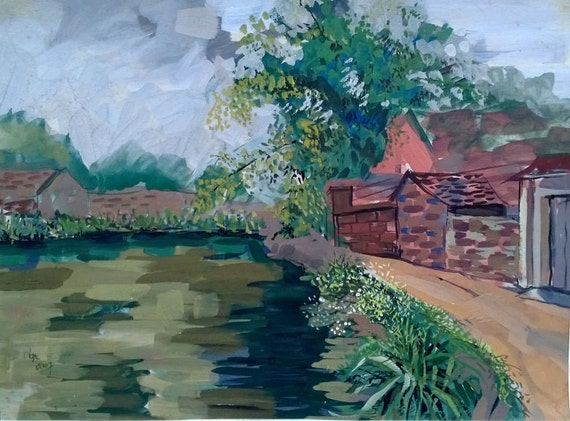 "THE POND 20x16"" gouache on paper, live painting, Vietnam village scene (Đường Lâm), original by Nguyen Ly Phuong Ngoc"