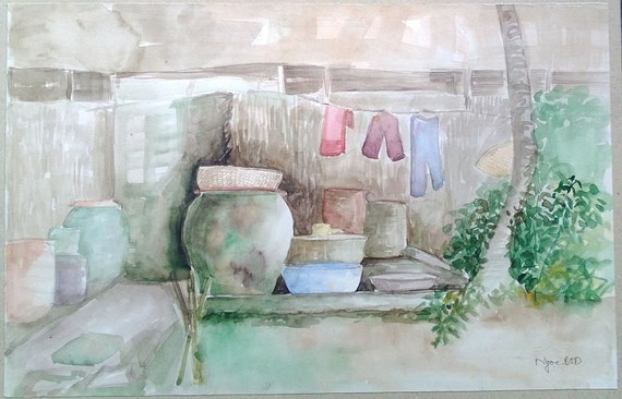 "AIR DRY 15x9.5"" watercolor on paper, live painting, Mekong Delta (Trà Vinh), original by Nguyen Ly Phuong Ngoc"