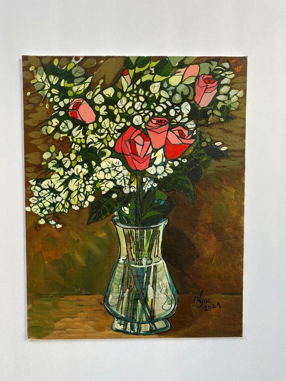 """Thursday Rose 11x14"""" oil on canvas board, Original by Nguyen Ly Phuong Ngoc"""