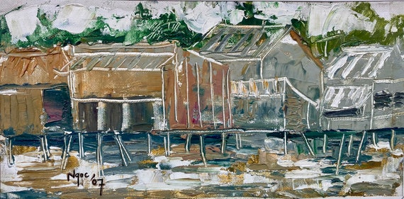"""RIVER BANK 7.5x14"""" textured oil on canvas, live painting, Mekong Delta (Cần Thơ Province), original by Nguyen Ly Phuong Ngoc"""