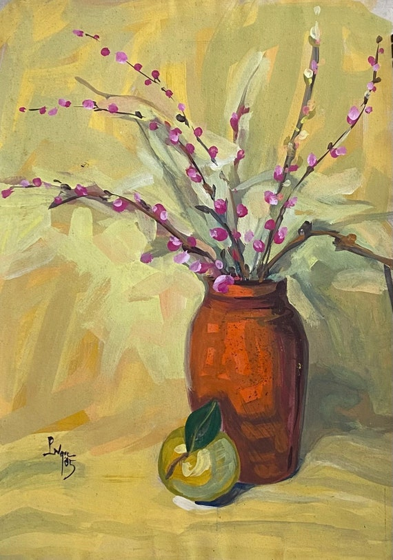 """STILL LIFE 2, 16x20"""" gouache on paper, wall decor, original painting by Nguyen Ly Phuong Ngoc"""