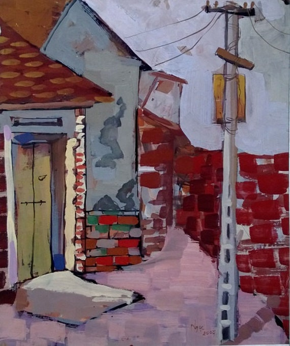 "WIRED 16x20"" gouache on paper, live painting, Vietnam village scene (Đường Lâm), original by Nguyen Ly Phuong Ngoc"