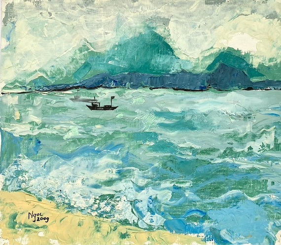"""TO THE WATER 15.5x18"""" Oil on Canvas, Live Painting, Nha Trang, Original by Nguyen Ly Phuong Ngoc"""