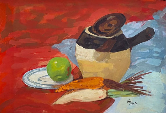 """STILL LIFE I 16x20"""" gouache on paper, wall decor, original painting by Nguyen Ly Phuong Ngoc"""