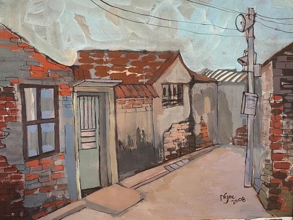 "THE ALLEYS 16x20""  gouache on paper, live painting, Vietnam village scene (Cự Đà), original by Nguyen Ly Phuong Ngoc"