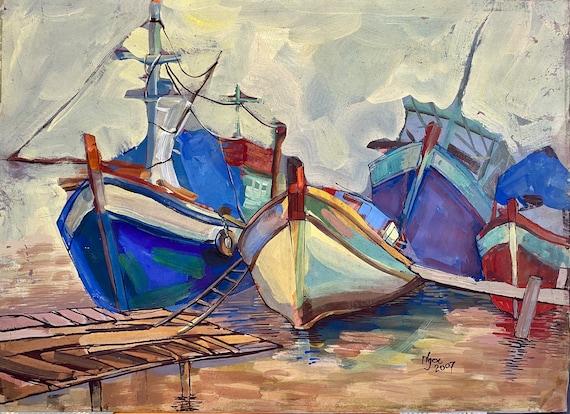 "THE DOCK ,16X20"" gouache on paper, live painting, Mekong Delta (Sông Đốc,Cà Mau Province), original by Nguyen Ly Phuong Ngoc"