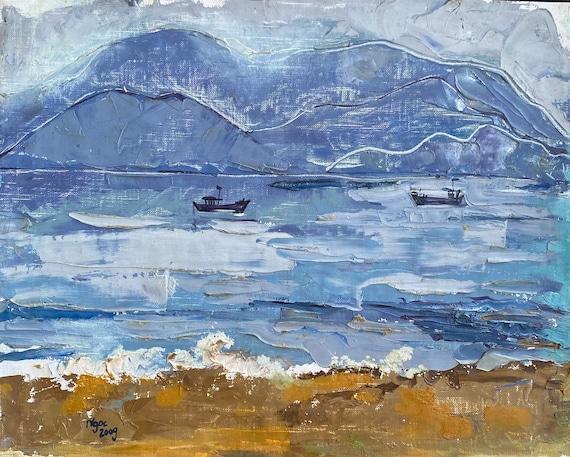 "SET SAIL 16x20"" Oil on Canvas, Live Painting, Nha Trang, Original by Nguyen Ly Phuong Ngoc"
