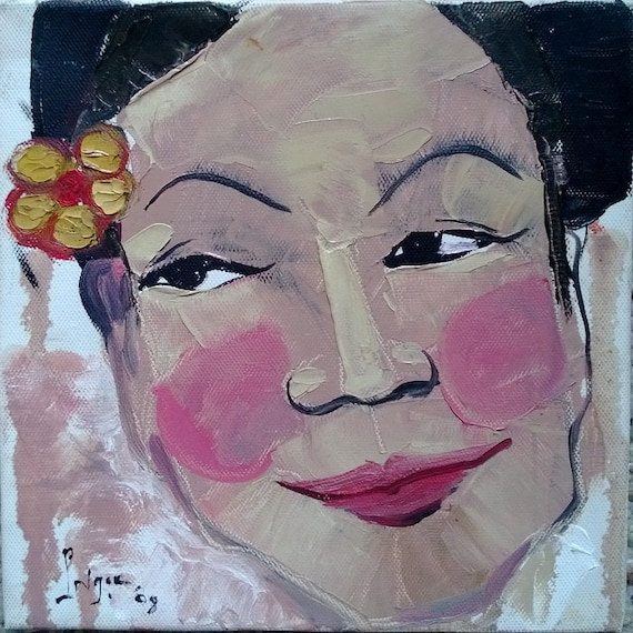 "CHEO 8x8"" oil on canvas, Vietnam Folk Opera (Hát Chèo), original by Nguyen Ly Phuong Ngoc"