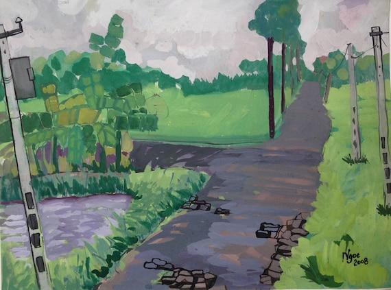 "VILLAGE ROAD- 20x16"" gouache on paper, live painting, Vietnam village scene (Thái Bình), original by Nguyen Ly Phuong Ngoc"