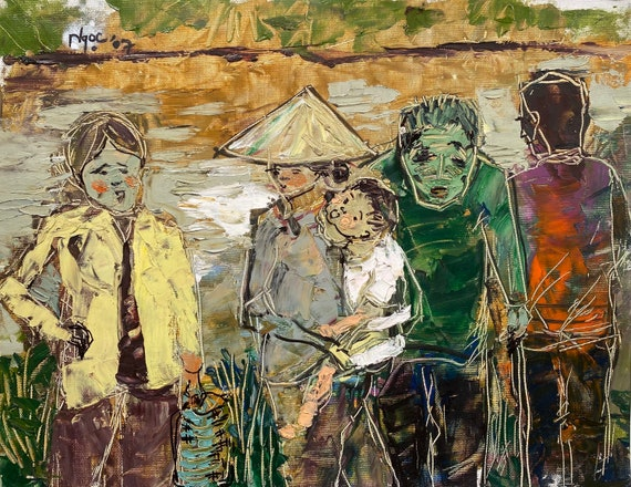 """Chatting by the dock 14.5x18.5""""  textured oil on canvas, live painting, Mekong Delta (Cần Thơ Province), original by Nguyen Ly Phuong Ngoc"""