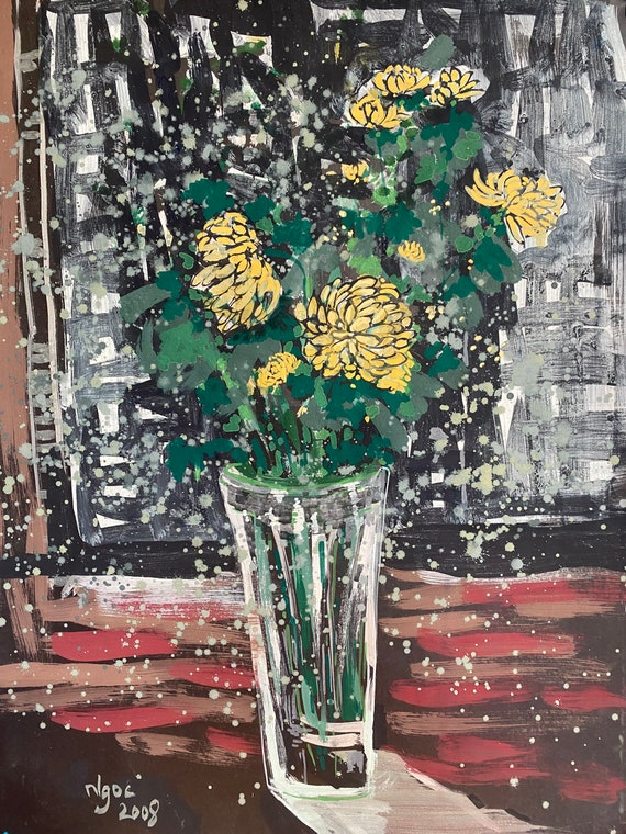 """FLOWERS STILL LIFE 16x21"""" gouache on paper, flowers, floral wall decor, original painting by Nguyen Ly Phuong Ngoc"""