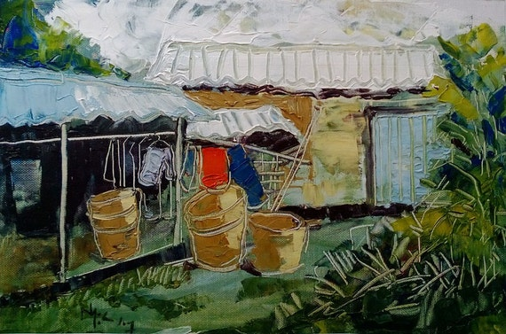 "LAUNDRY 16x10"" textured oil on canvas, live painting, Mekong Delta (Cần Thơ Province), original by Nguyen Ly Phuong Ngoc"