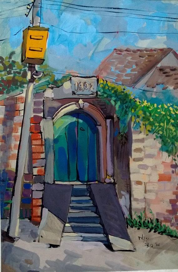 "GREEN GATE 16x20"" gouache on paper, live painting, Vietnam village scene (Đường Lâm), original by Nguyen Ly Phuong Ngoc"