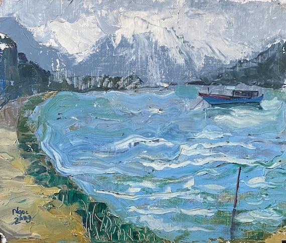 "ASHORE 15x18""   Oil on Canvas, Live Painting, Nha Trang, Original by Nguyen Ly Phuong Ngoc"