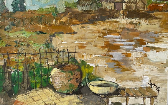 """BACKYARD 12x17.5""""  textured oil on canvas, live painting, Mekong Delta (Cần Thơ Province), original by Nguyen Ly Phuong Ngoc"""