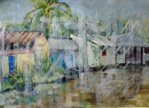 "RAIN 20x16"" gouache on paper, live painting, Mekong Delta (Cần Thơ Province), original by Nguyen Ly Phuong Ngoc"